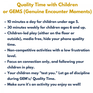 Description of quality time with children outline