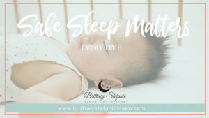 Baby practicing safe sleep on back in crib