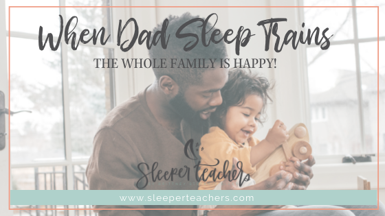 Dad with happy sleep trained child sitting on a couch